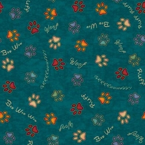 Picture of Must Love Dogs Paw Prints and Sounds Woof Bow Wow Teal Cotton Fabric