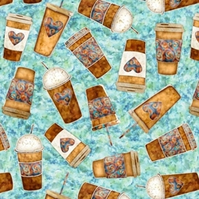 Picture of Café All Day Coffee to Go Take-out Cups on Aqua Cotton Fabric