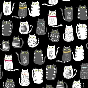 Picture of Cat Fish Cats Fat Cat Drawings Grey and White on Black Cotton Fabric