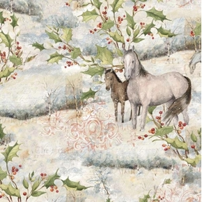 Picture of Mid Winter Scenic Horses Holiday Horse and Holly Cotton Fabric