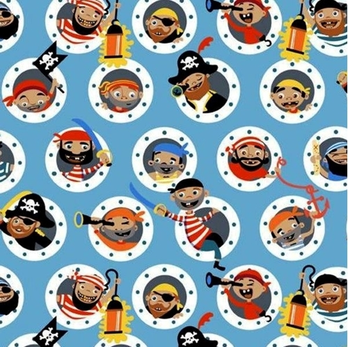 Picture of Pirate's Life Children Dressed as Pirates Portholes Blue Cotton Fabric