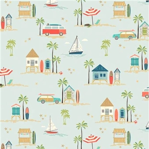 Picture of Offshore 2 Beach Surfing Woody Cars VW Bus Surfboard Cotton Fabric