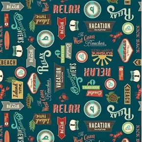 Offshore 2 Beach Vacation Terms Relax Surf Rentals Navy Cotton Fabric