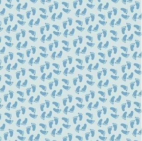 Sweet Baby Boy Blue Foot Prints Feet on Blue Cotton Fabric