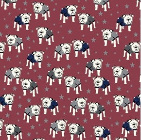 Picture of Hey Mister Bulldogs with Sweaters Bulldog Dog Burgundy Cotton Fabric
