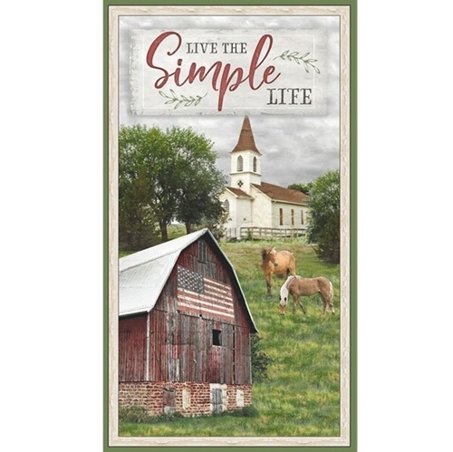 Farmstead Live The Simple Life Country Church Barn 24x44 Fabric Panel