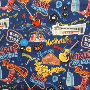 Picture of Nashville Icons Live Music Country Legends Cotton Fabric