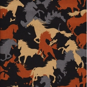 Western Novelty Horse Silhouettes Grey Brown and Black Cotton Fabric