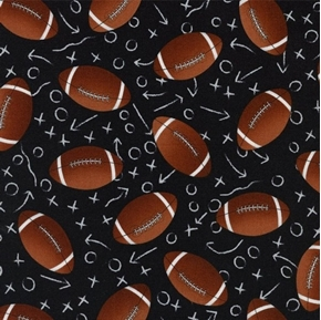 Picture of Footballs and Game Plays Football Black Sports Cotton Fabric