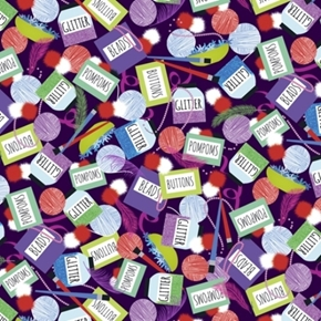 Picture of Crazy for Crafting Craft Supplies Glitter Beads Buttons Cotton Fabric