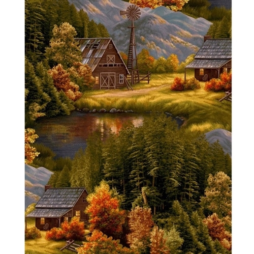 Lakeside Lodge Scenic Autumn Mountain Homestead Living Cotton Fabric