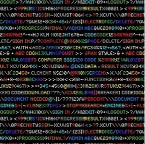 Picture of Rainbow Coding Computer Code in Colors on Black Cotton Fabric
