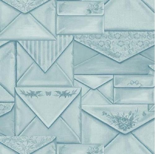 Picture of Bookshop Envelopes Decorative Stationary Mail Blue Cotton Fabric