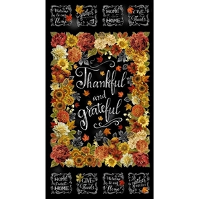 Picture of Thankful and Grateful Fall Flower Chalkboard 24x44 Cotton Fabric Panel