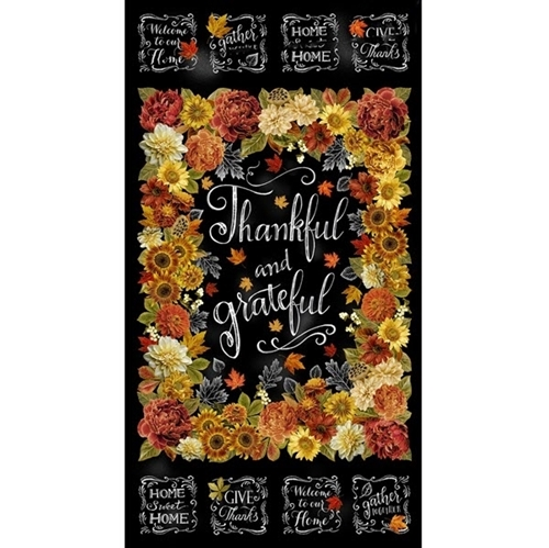 Thankful and Grateful Fall Flower Chalkboard 24x44 Cotton Fabric Panel