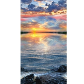 Sunset Sail Still Water Lake Sailing 24x44 Cotton Fabric Panel