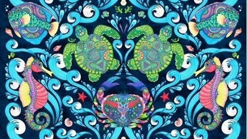 Paradise Falls Underwater Geometric Turtle Crab 24x44 Cotton Fabric