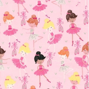 Picture of Dainty Ballerinas Cute Dancers Ballet Shoes Glitter Cotton Fabric