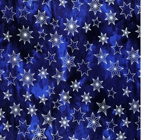 Silver Stars Metallic Star on Blue Holiday Cotton Fabric