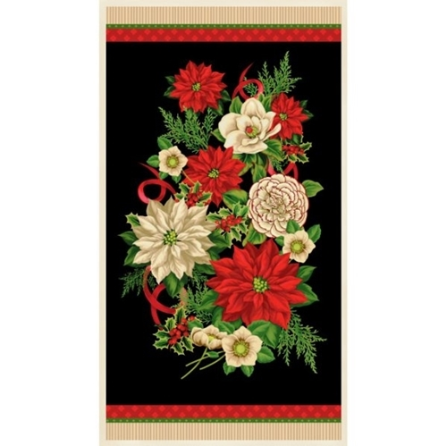 Holiday Lane Christmas Flowers Poinsettia Holly 24x44 Fabric Panel