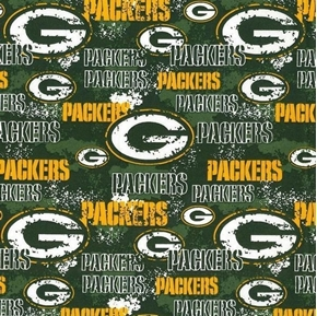 NFL Football Green Bay Packers Distressed-Look Cotton Fabric