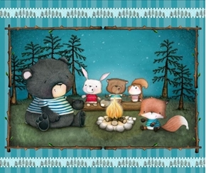 Campfire Friends Illustrated Animals Camping Large Cotton Fabric Panel