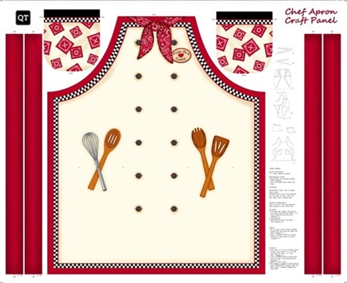 Sew and Go X Chefs Apron Cotton Fabric Craft Panel
