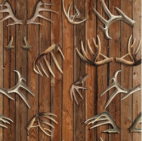 Wild Wings Field Day Deer Antlers Antler Rack Hunting Cotton Fabric