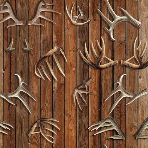 Wild Wings Field Day Deer Antlers Antler Rack Hunting Cotton Fabric