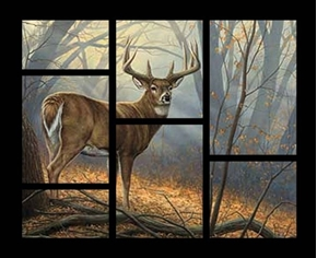 Wild Wings Field Day Deer Buck Through The Window Cotton Fabric Panel