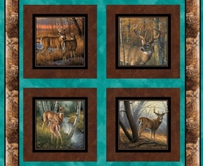 Wild Wings Field Day Deer in Woods Cotton Fabric Pillow Panel Set