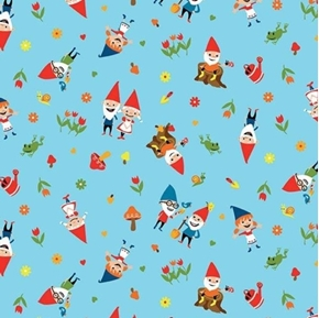Gnomes and Gardens Frogs and Mushrooms Gnome Blue Cotton Fabric