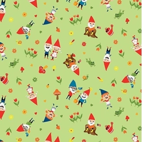 Picture of Gnomes and Gardens Frogs and Mushrooms Gnome Green Cotton Fabric