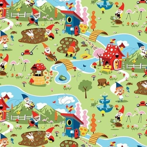 Picture of Gnomes and Gardens Gnome Village Gardening Green Cotton Fabric