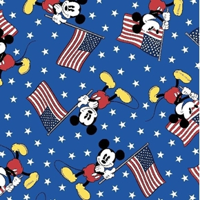 Picture of Disney Mickey Team USA Patriotic Mickey Mouse Blue Cotton Fabric