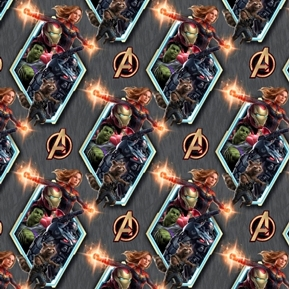 Picture of Marvel Avengers Badge Ironman Capt Marvel Hulk Rocket Cotton Fabric