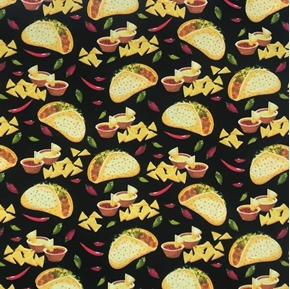 Picture of Tacos and Chips Mexican Food Salsa Hot Peppers Black Cotton Fabric