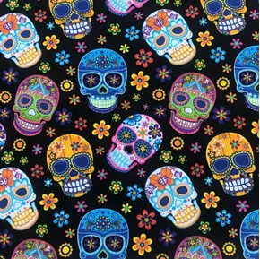 Picture of Skulls on Black with Flowers Sugar Skull Cotton Fabric
