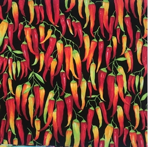 Chili Peppers Strings of Hot Peppers Yellow Red Pepper Cotton Fabric