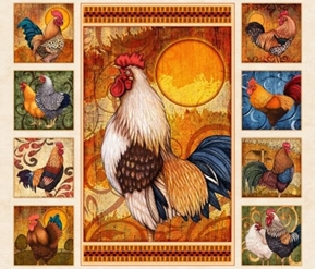 Sunrise Farms Roosters Colorful Rooster Cream Cotton Fabric Panel