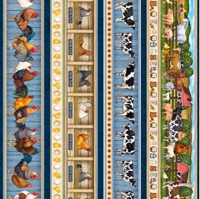 Sunrise Farms Farm Animal Dairy Farm Fresh Egg Stripe Cotton Fabric