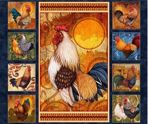 Sunrise Farms Roosters Colorful Rooster Navy Cotton Fabric Panel