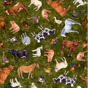 Sunrise Farms Farm Animal Toss Pig Sheep Goat Green Cotton Fabric