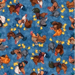 Sunrise Farms Chicken Toss Rooster Chicks Denim Blue Cotton Fabric