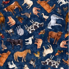 Sunrise Farms Farm Animal Toss Pig Sheep Goat Blue Cotton Fabric