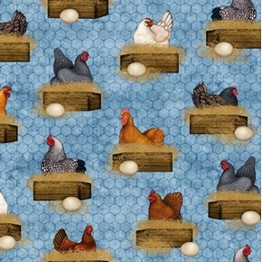 Sunrise Farms Hens Nesting Chicken Coop Farm Blue Cotton Fabric