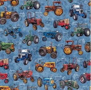 Picture of Sunrise Farms Tractor Toss Vintage Farm Tractor Blue Cotton Fabric