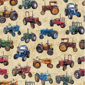 Picture of Sunrise Farms Tractor Toss Vintage Farm Tractor Cream Cotton Fabric