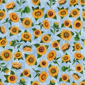 Picture of Sunrise Farms Sunflower Toss Yellow Flowers on Blue Cotton Fabric
