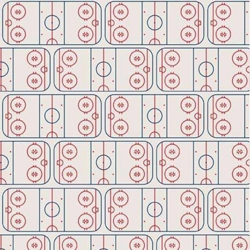 Picture of Varsity Sports Hockey Field Ice Rink Off White Cotton Fabric